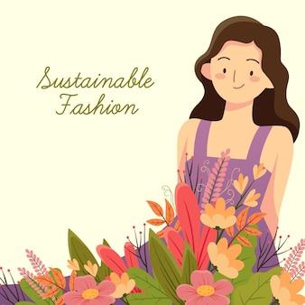Flache hand gezeichnete nachhaltige modeillustration