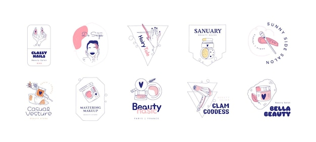 Flache hand gezeichnete schönheitssalon-logo-set