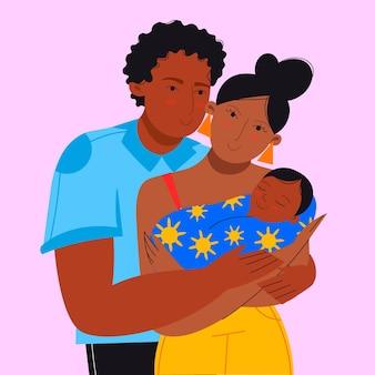 Flache hand gezeichnete schwarze familie mit einem baby