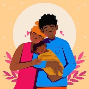 Flache hand gezeichnete schwarze familie mit einer babyillustration
