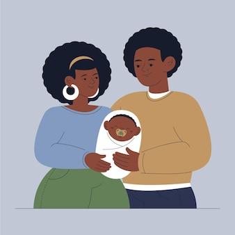 Flache hand gezeichnete schwarze familienillustration mit einem baby