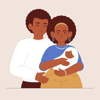 Flache hand gezeichnete schwarze familienillustration mit einem baby Kostenlosen Vektoren
