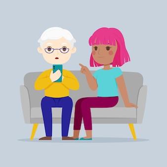 Flache hand gezeichnete senioren unter verwendung der technologieillustration