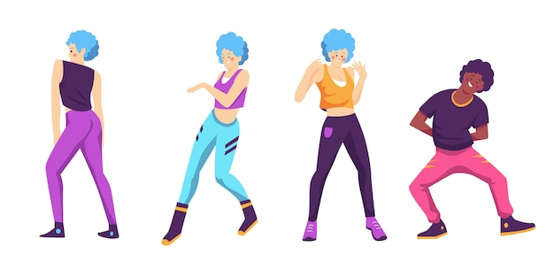 Flache hand gezeichnete tanz fitness schritte pack