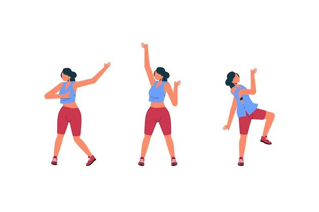 Flache hand gezeichnete tanz-fitness-schritte-sammlung