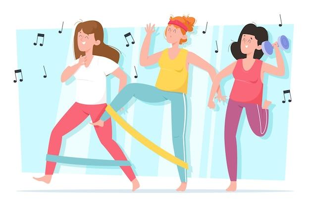 Flache hand gezeichnete tanzfitness-schrittillustration