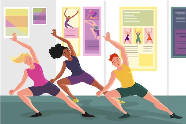 Flache hand gezeichnete tanzfitnessklasse mit leuten