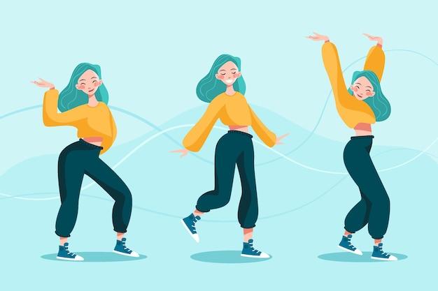 Flache hand gezeichnete tanzfitnessklasse