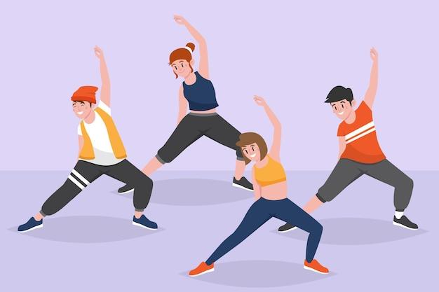 Flache hand gezeichnete tanzfitnessklasseillustration mit leuten