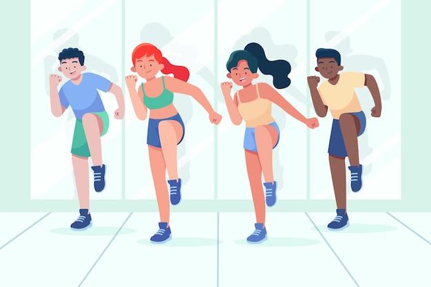 Flache hand gezeichnete tanzfitnessklasseillustration