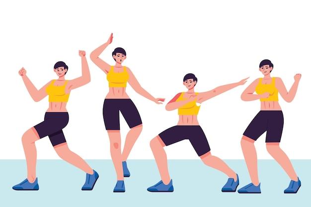 Flache hand gezeichnete tanzfitnessschritte