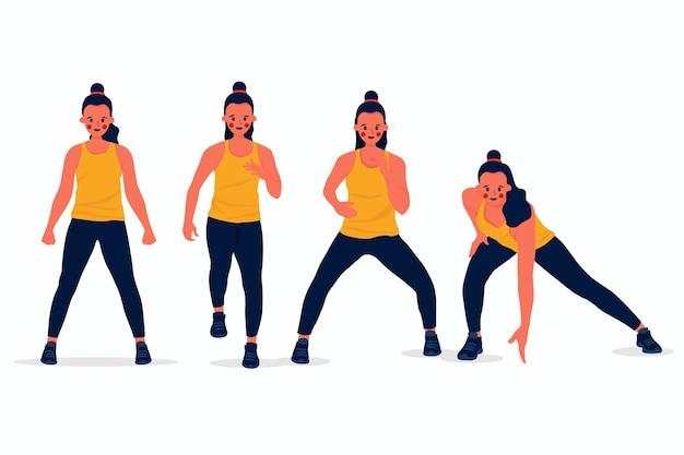 Flache hand gezeichnete tanzfitnessschrittsammlung mit leuten