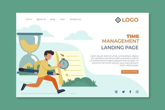 Flache hand gezeichnete zeitmanagement-landingpage-vorlage