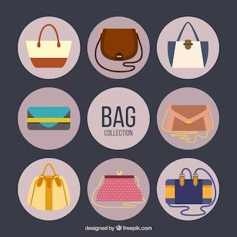 Flache handtaschen-kollektion