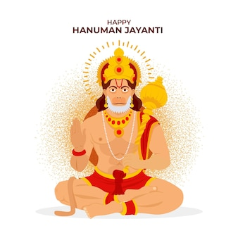 Flache hanuman jayanti illustration