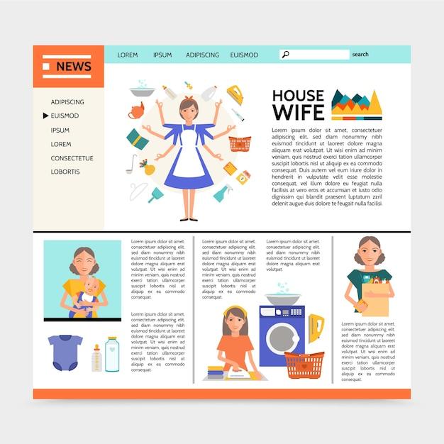 Flache hausfrau website-vorlage