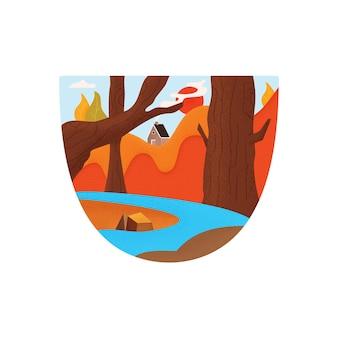 Flache helle bunte vektorillustration des grafischen emblems und des t-shirt-designs mit blauem fluss, der durch bewaldete berge mit campinghütte fließt
