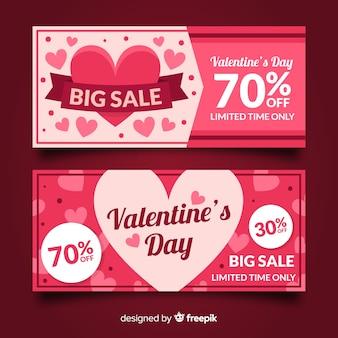 Flache herzen valentine verkauf banner