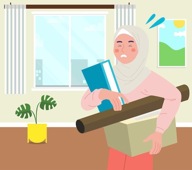 Flache hijab-frau, die etwas auf wohnzimmerhintergrund trägt