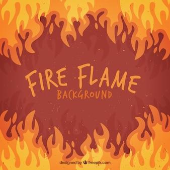 Flache hintergrund der flammen in verschiedenen farben