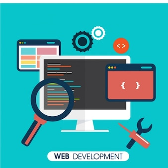 Flache hintergrund der web-entwicklung