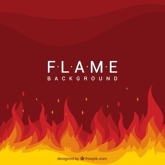 Flache hintergrund mit flammen und welligen formen