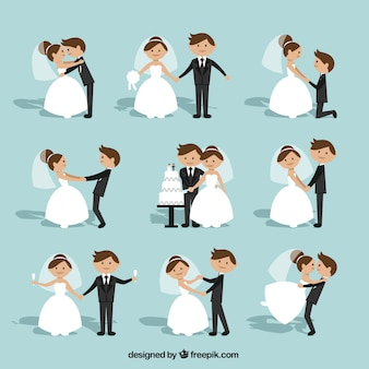 Flache Hochzeits-Paar-Sammlung