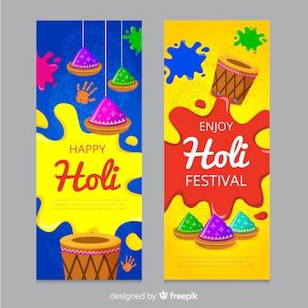 Flache holi festival banner