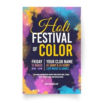 Flache holi festival flyer vorlage