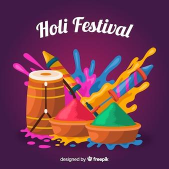 Flache holi festival hintergrund