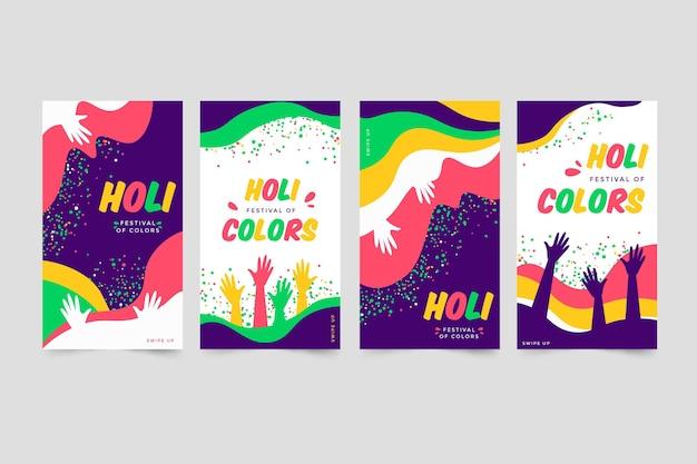 Flache holi festival instagram geschichten gesetzt