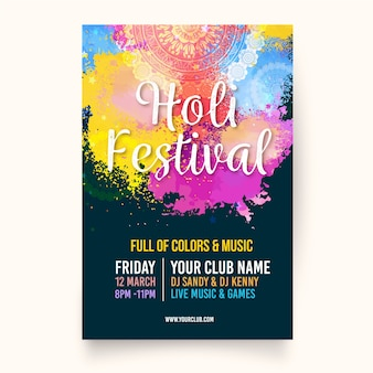 Flache holi festival plakat vorlage