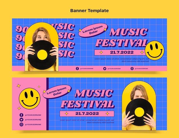 Flache horizontale banner für das nostalgische musikfestival der 90er jahre