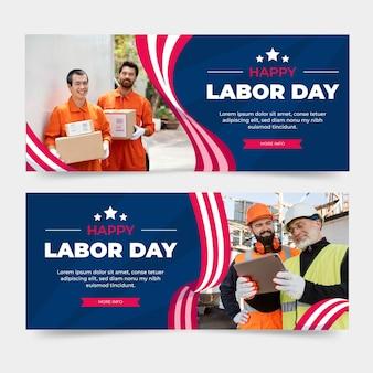Flache horizontale banner für den arbeitstag mit foto eingestellt