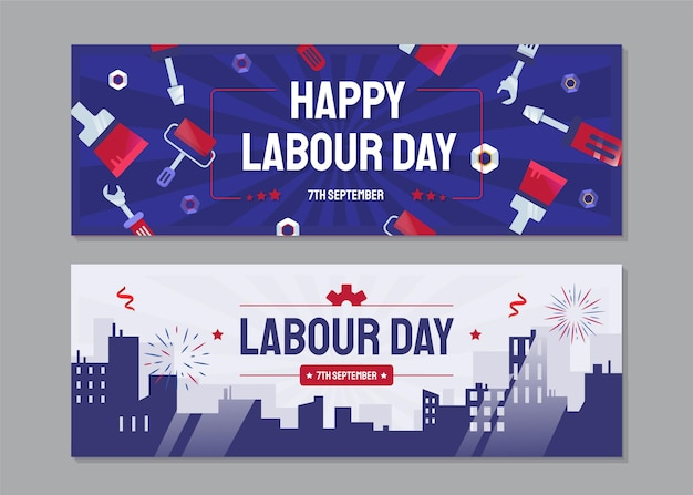 Flache horizontale banner für den arbeitstag