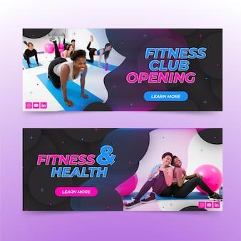 Flache horizontale banner für gesundheit und fitness mit foto eingestellt