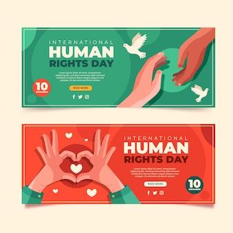 Flache horizontale banner zum internationalen tag der menschenrechte eingestellt