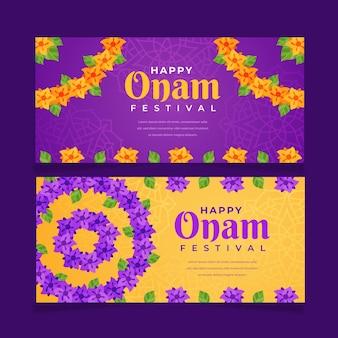 Flache horizontale onam-banner-set