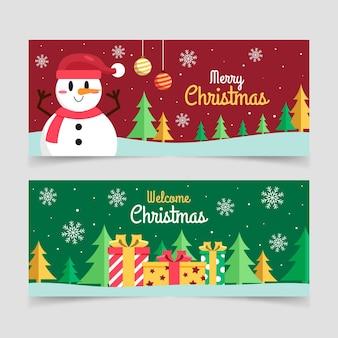 Flache horizontale weihnachtsfahnen eingestellt