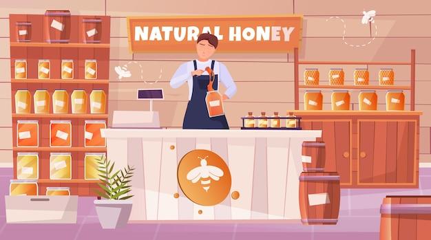 Flache horizontale zusammensetzung des honigladens mit dem verkäufer, der hinter der theke steht