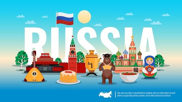 Flache horizontale zusammensetzung russland-reise mit borscht-rübensuppe-kreml-birkenbaum des pfannkuchenkaviar-bären