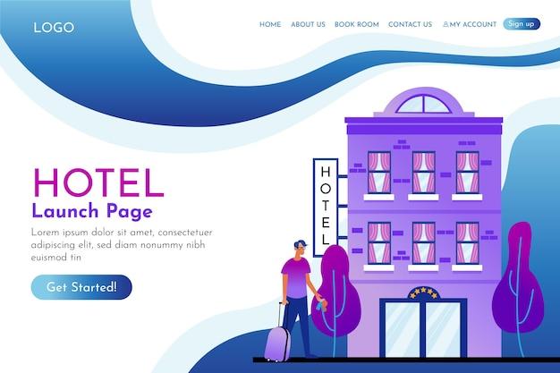 Flache hotel-landingpage-vorlage mit abbildungen