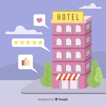 Flache hotelbewertung konzept hintergrund