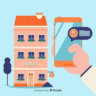 Flache hotelbuchung konzept hintergrund