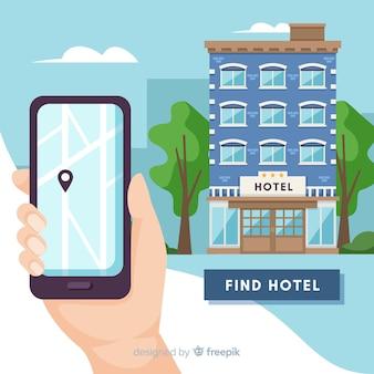 Flache hotelbuchungsanwendung hintergrund