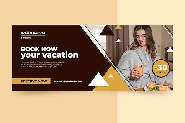 Flache hotelfahnenschablone mit foto
