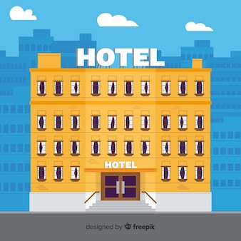 Flache hotelfassade hintergrund