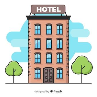 Flache hotelgebäude hintergrund