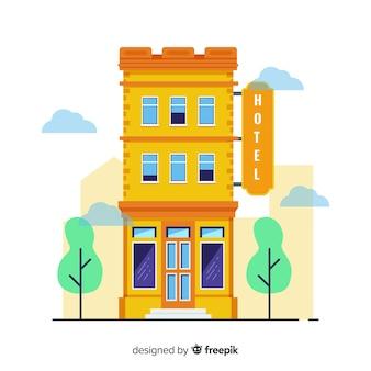 Flache hotelgebäude illustration