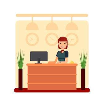 Flache hotelrezeption mit junger rezeptionistin. mädchenmanager stehend, geschäftsbürokonzept. willkommen registrierung lager illustration.